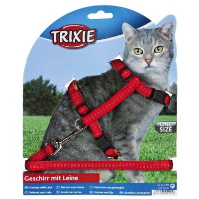 Trixie szelki ze smyczą dla kota Pikowany wzór 27-44cm szerokość tasmy 10mm