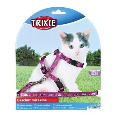 Trixie szelki ze smyczą dla małego kota wzór 21-34cm szerokość tasmy 8mm