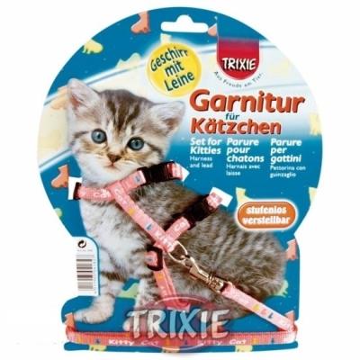 Trixie szelki ze smyczą dla małego kota motyw 21-34CM  szerokość tasmy 8mm