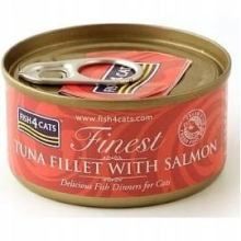 Karma mokra dla kota Fish4Cats Filety różne smaki - 1x70g Tuńczyka z łososiem