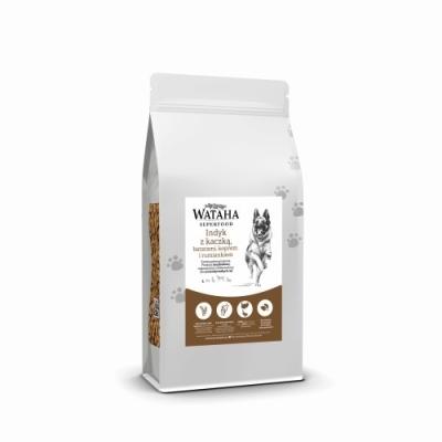 Karma sucha dla psa  Wataha Superfood puppy indyk z kaczką batatami koperkiem 2kg, 6kg GPT Karma sucha dla szczeniąt ras miniaturowych