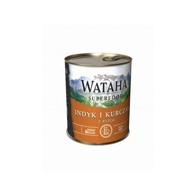 Karma mokra dla psa WATAHA 87% indyka z kurczakiem z dodatkiem ryżu i witamin 410g, 850g