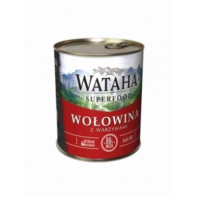 Karma mokra dla psa WATAHA 98% wołowiny z dodatkiem warzywi witamin 410g, 850g
