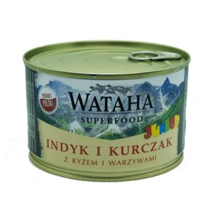 Karma mokra dla psa WATAHA Junior indyk 410g, 850g