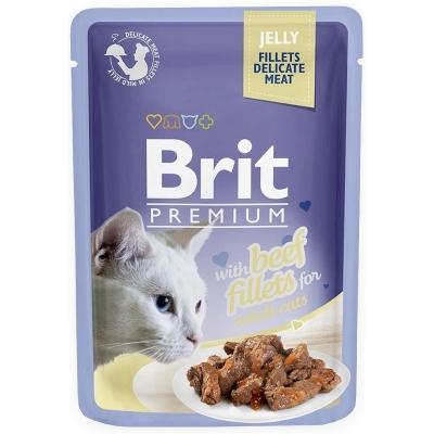 Karma mokra dla kota Brit Care Cat Pouch Jelly Fillets Beef saszetka 85g