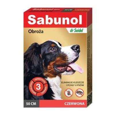 DermaPharm Sabunol czerwona obroża przeciw pchłom i kleszczom dla psa 50 cm
