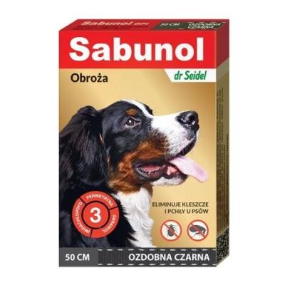 DermaPharm Sabunol ozdobna czarna obroża przeciw pchłom i kleszczom dla psa 50 cm