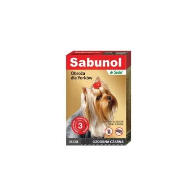 DermaPharm Sabunol GPI Obroża Ozdobna Czarna dla Psa Przeciw Pchłom i Kleszczom York 35 cm