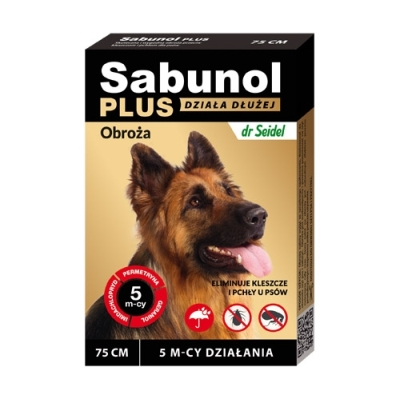 DermaPharm Sabunol Plus - Obroża przeciw pchłom i kleszczom dla psa 75cm