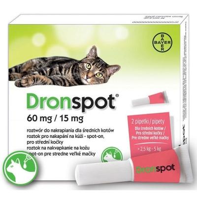 Bayer Dronspot Krople na robaki i pasożyty dla kota o wadze 2.5kg-5kg op. 2 pipety