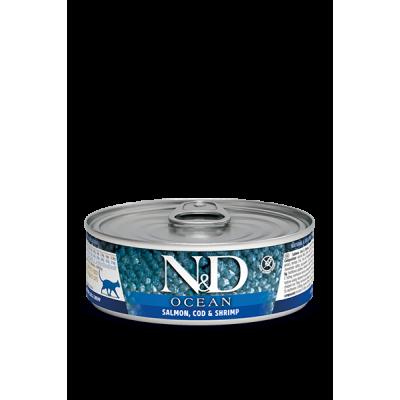Karma mokra dla kota Farmina Cat N&D Ocean Salmon, Cod & Shrimp Adult - 80g