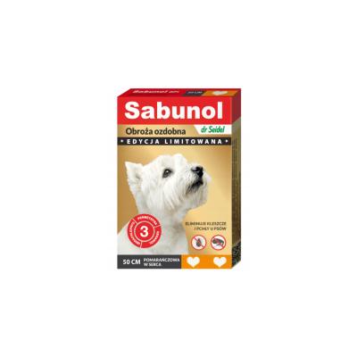 DermaPharm Sabunol ozdobna pomarańczowa w serca obroża przeciw pchłom i kleszczom dla psa 50 cm