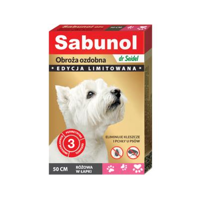DermaPharm Sabunol ozdobna różowa w łapki obroża przeciw pchłom i kleszczom dla psa 50 cm