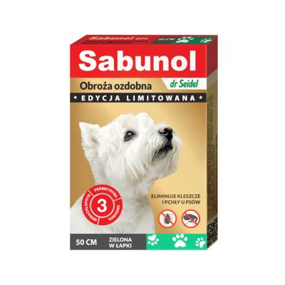 DermaPharm Sabunol ozdobna zielona w łapki obroża przeciw pchłom i kleszczom dla psa 50 cm