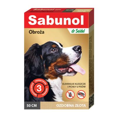 DermaPharm Sabunol ozdobna złota obroża przeciw pchłom i kleszczom dla psa 50 cm