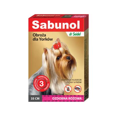DermaPharm Sabunol GPI Obroża Ozdobna Różowa dla Psa Przeciw Pchłom i Kleszczom York 35 cm